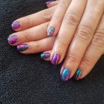 Purple and blue coloured gel nails