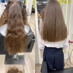 woman before and after haircut