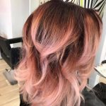 woman with rose gold hair