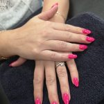 bright pink gel nails