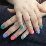 multicoloured gel nails