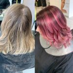 before and after image of girl dying her hair pink